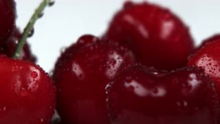 Closeup Panning Across Red Cherries 4