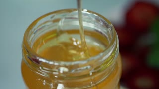 Closeup shot of honey in jar
