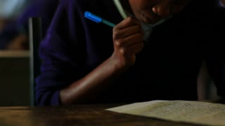 Closeup Student Doing Classwork in Kenya 2