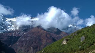 Clouds Moving Across Himalayan Peaks in Nepal