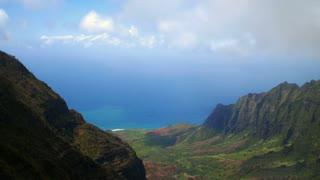 Clouds Moving Over Lush Valley Overlooking Na Pali Coast