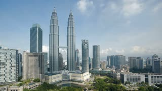 Cloudscape view of the Petronas Twin Towers, Kuala Lumpur City Centre KLCC, Malaysia, Kuala Lumpur, Asia, Time lapse