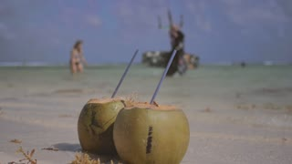 Coconut drink on caribbean