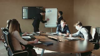 Colleagues discuss at the meeting Business