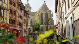 Colmar, France Street Shot With Flowers in Foreground