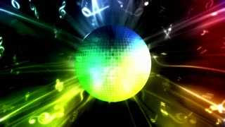 Colorful Disco Ball and Music Notes