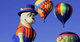 Colorful hot air balloons and shapes including dog