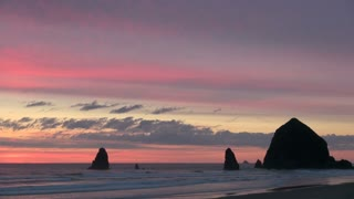 Colorful Sky and Haystack Rock at Cannon Beach in Oregon