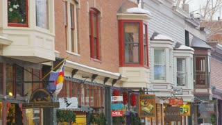 Colorful Telluride Storefronts in Snow