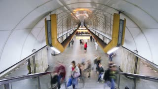 Commuters at a Modern Underground Station in Prague, Czech Republic, Europe, T/Lapse