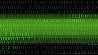 Computer Binary Code with Green Stripe
