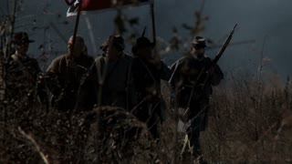 Confederate Soldiers Advance In Battle