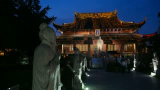 Confucian Temple Statues at Night Long Shot