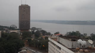 Congo River With Modern Building