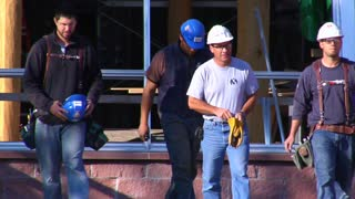 Construction Workers Walked Toward Camera Slow Mo
