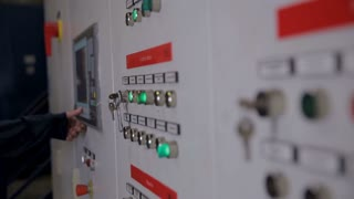 Control cabinets, displays at an electrical substation at power plant, factory