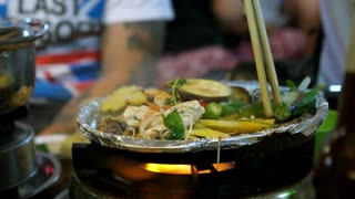Cooking Vegetables on Barbeque. Vietnam Street Food BBQ.