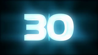 Countdown from 30 in 3D with blue glows