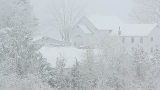 Countryside Home in White Snow Closeup View