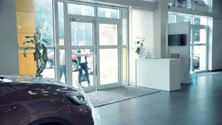 Couple comes into Car dealership to choose the car to buy it. The sales manager approaches them and begins to tell about petrol and electric vehicles