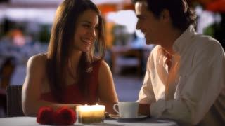 Couple in restaurant in the evening
