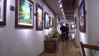 Couple Looks At Paintings In Art Gallery