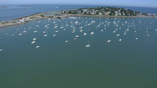 Cove Of Sail Boats Near Boston Aerial