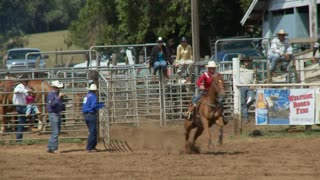 Cowboy Racing Horse In Rodeo