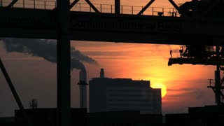 crane container industry. time lapse at sunset