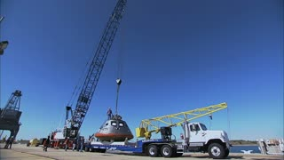 Crane Lifting Orion Module