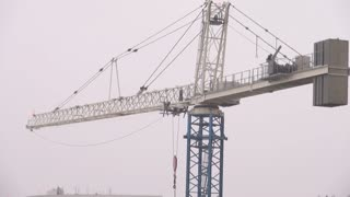 Crane Moving in the Wind During Hurricane Sandy