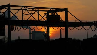 cranes container industrial industry business. logistics. silhouette sunset