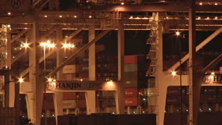 Cranes Working at Night at Port of Oakland