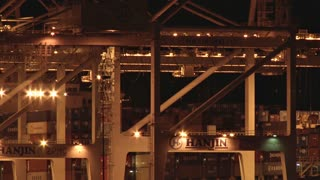Cranes Working Through the Night at Port of Oakland