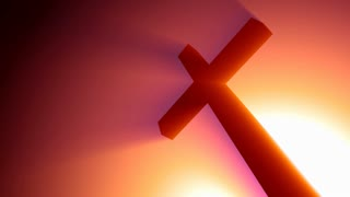 Cross Spinning In Glowing Red Light