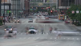 Crossing Busy Road Traffic Stop Timelapse