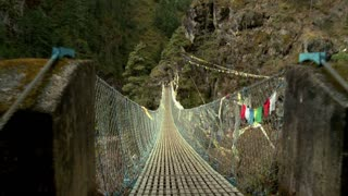 Crossing Over Rope Bridge