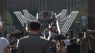 Crowd Going Over Millennium Bridge