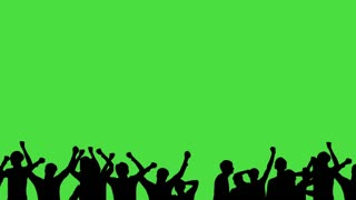 Crowd of fans dancing on green screen. Concert, Jumping, Dancing, Hands up