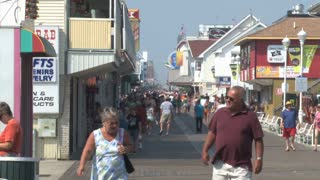 Crowd of People on Busy Boardwalk in Ocean City Maryland