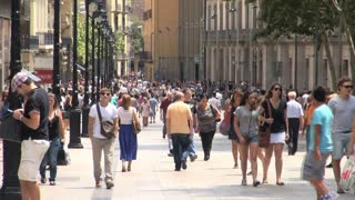 Crowd of People on Street in Barcelona Spain 2