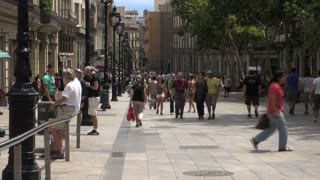 Crowd of People on Street in Barcelona Spain 3