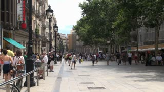 Crowd of People on Street in Barcelona Spain