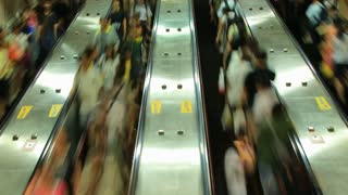 Crowd Riding Escalator Time Lapse