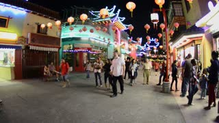 Crowd Walking Through LA Chinatown
