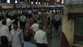 Crowded Railway Station in Mumbai