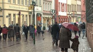 Crowded Rainy Street