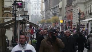 Crowded Romanian Street