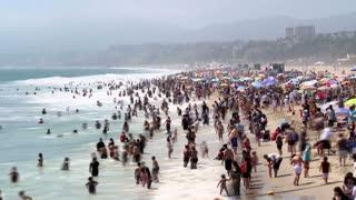 Crowded Santa Monica Beach Timelapse