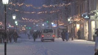 Crowded Snowy Street